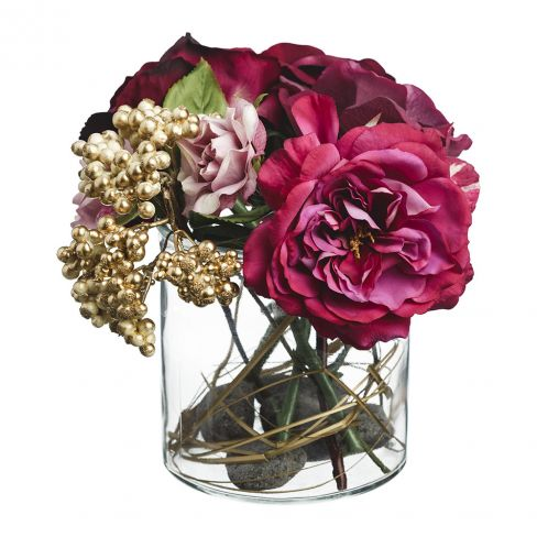 Paper Whites Mixed Rose and Berry in Glass Vase