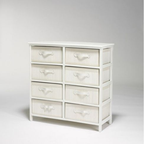 White Chest with Eight Braided Drawers