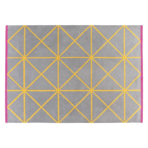 Geometric Grid Modern Rug in Grey and Yellow
