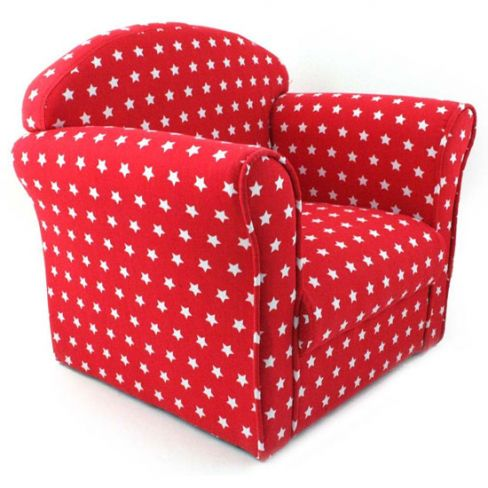 Childrens Red with White Stars Fabric Tub Armchair