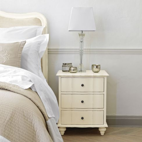 Amelie Three-drawer White Bedside Table