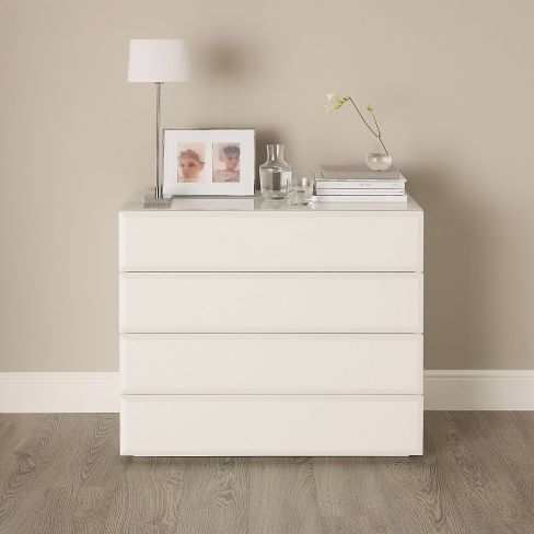 Carlton White Glass Chest of Drawers