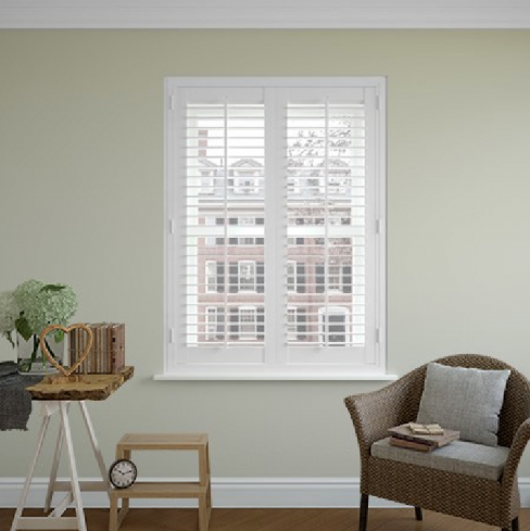 Classic Full Height Plantation Shutters in Cool White