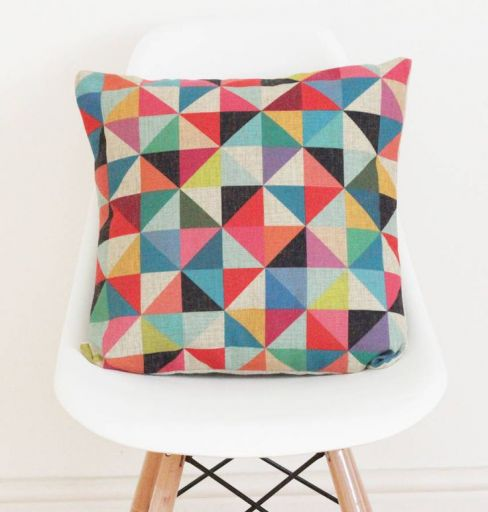 Quirkybee Geometric Linen Cushion Cover