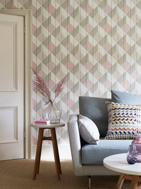 Geometric Wood Panelling Wallpaper
