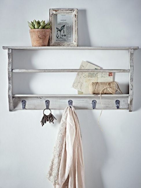 Grey Washed Wall Rack With Hooks