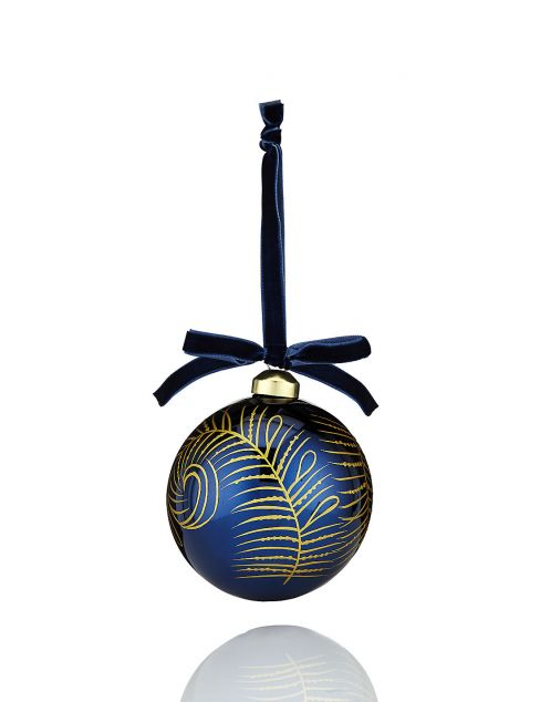 Hand-Painted Gold Feather Bauble
