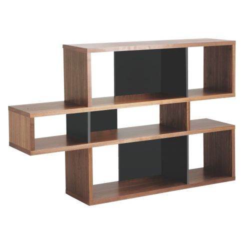 Antonn Low Walnut/Black Shelving Unit