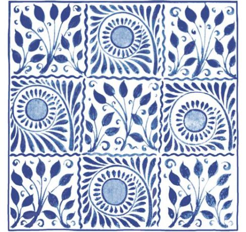 V and A William De Morgan Cobalt Squares Tiles