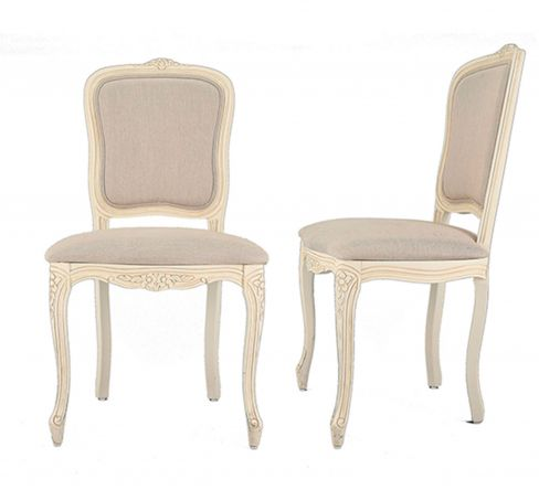 Provencale Upholstered Pair of Dining Chairs
