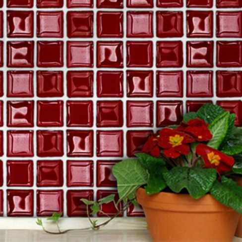 Red Glass Mosaic Self-adhesive Tiles