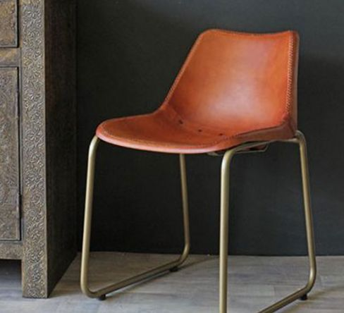 Brown Leather Dining Chair with Brass Effect Legs