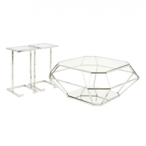 Kimberley Diamond Glass Coffee Table with Matching Side Tables