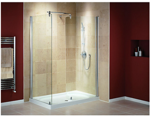 Walk-In Shower Enclosure with Curved Panel and Silver Effect Frame