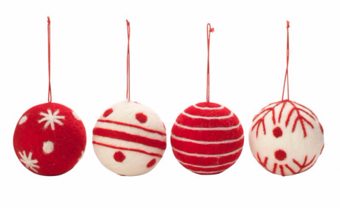 Red and White Wool Baubles