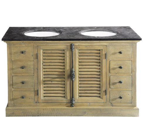 Persiennes Wood and Blue Stone Twin Basin Unit