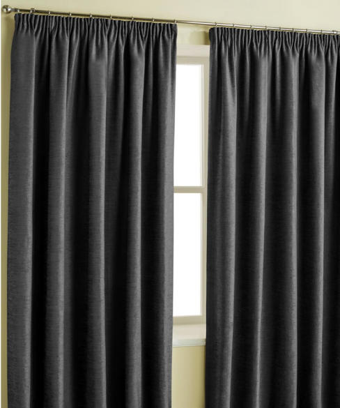 Charcoal Plain Chenille Pencil Pleat Curtains