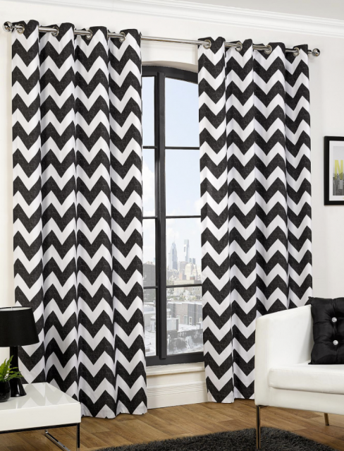 Chevron Eyelet Curtains in Black