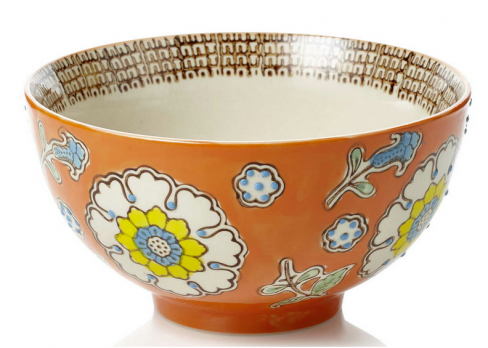 Orange Hand Painted Tapestry Bowl