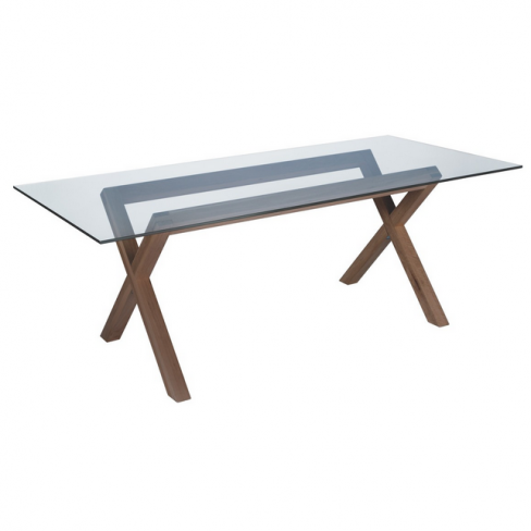 Dublin 8 Seater Walnut Stain and Glass Dining Table