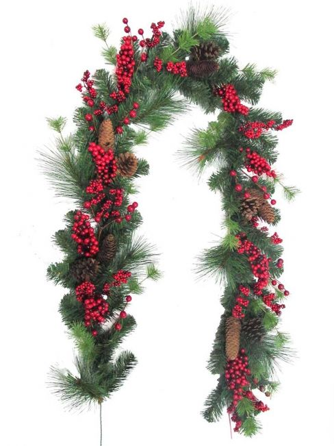 Red Berry and Cone Christmas Garland