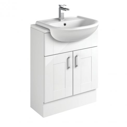 White Shaker Bathroom Vanity Unit and Basin