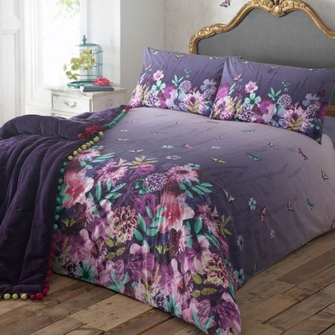 Matthew Williamson Designer Purple Butterfly Garden Bedding Set