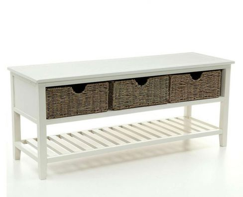 Cottage Ivory Shoe Rack Bench