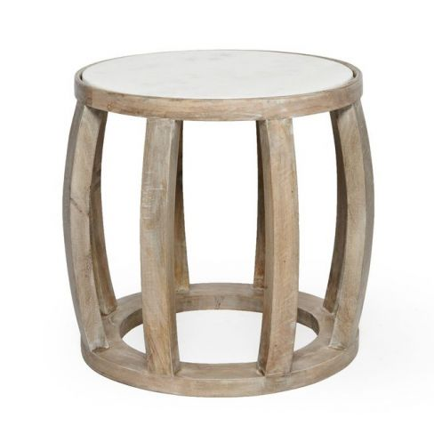 Salvage And Marble Drum End Table