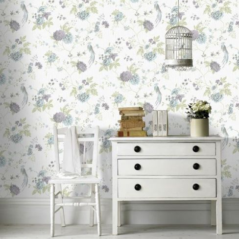 Exotica Glitter Wallpaper in Duck Egg and Lilac