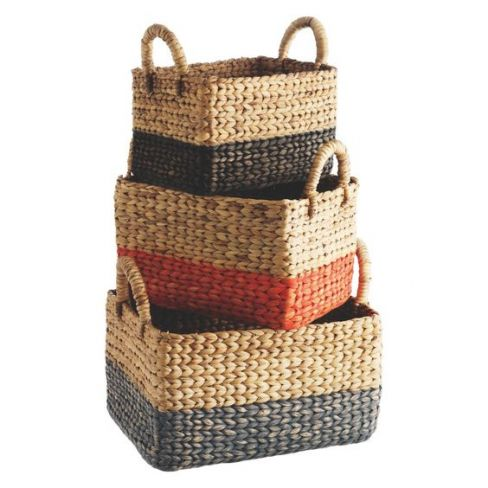 Coby Multi-Coloured Ractangular Water Hyacinth Baskets