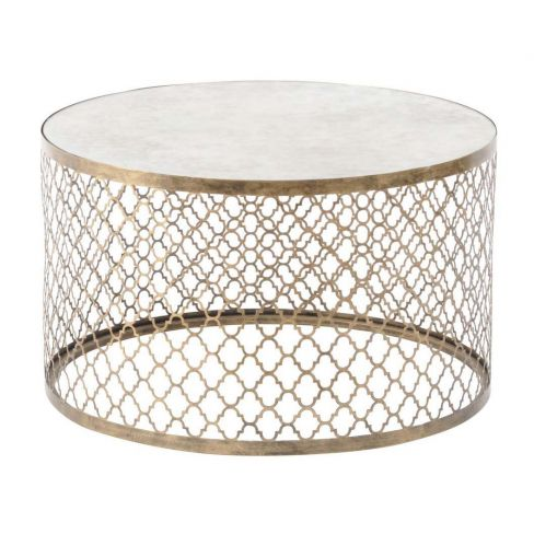 Highclere Round Coffee Table with Mirror Top