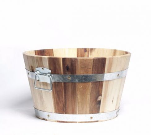 Acacia Barrel Garden Wooden Planter