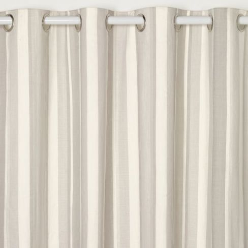 Awning Stripe Dove Grey Eyelet Ready Made Curtains