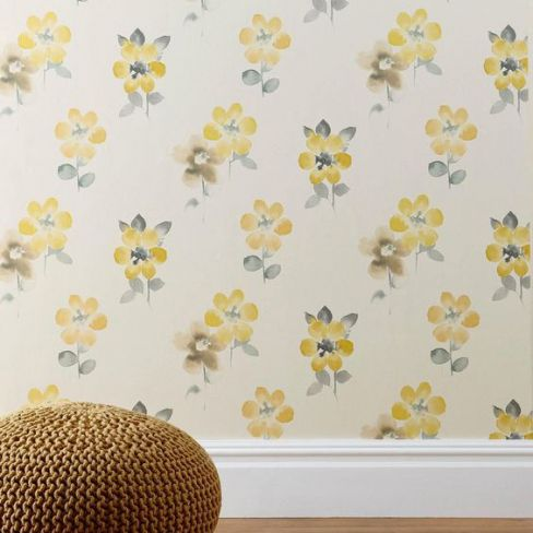 Ochre Watercolour Bloom Wallpaper