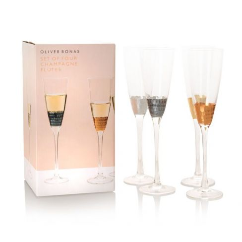 Mixed Metallic Champagne Glasses