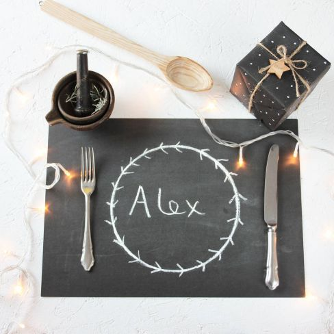 Chalkboard Christmas Dinner Placemat Sheets