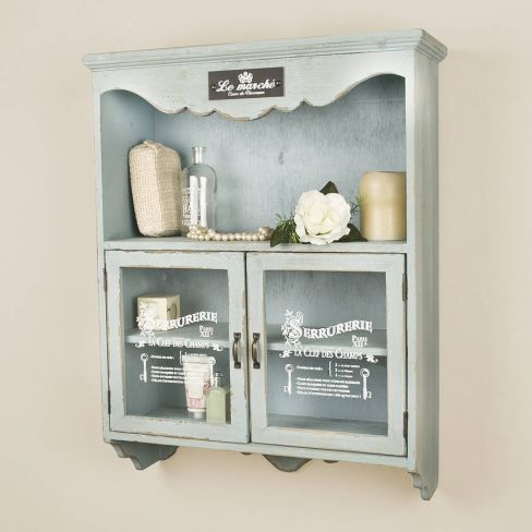Dibor Vintage Blue French Wall Cupboard