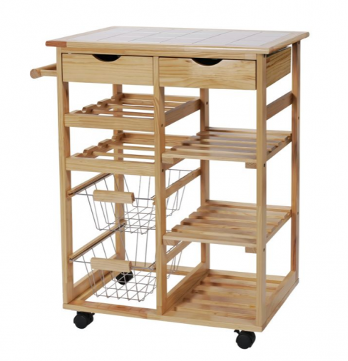 Pine Tile-top Kitchen Trolley