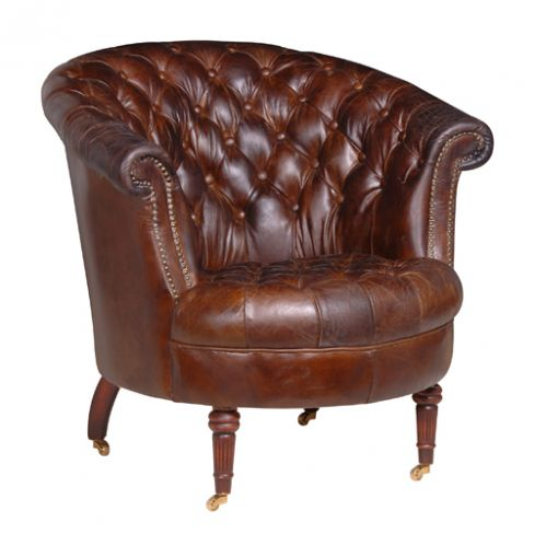President Vintage Brown Leather Buttoned Armchair