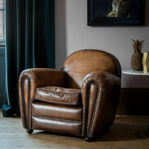Deco Leather Lounge Chair