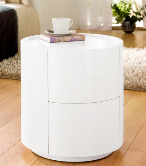 Sphere Gloss White Bedside Table