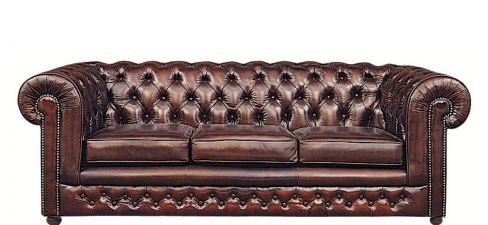 Chesterfield Traditional Leather Sofa Bed