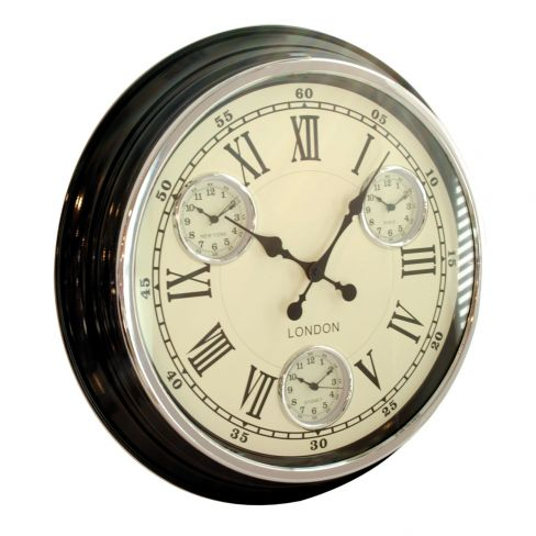Modern Vintage Multiple Time Zone Wall Clock