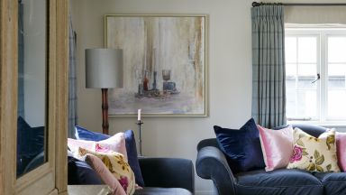 Cosy Living Room Snug With Navy-blue Sofas