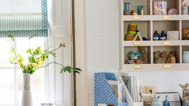 Blue Country Home Office with Feature Wallpaper