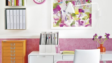 Bright Floral Home Office with Modern White Desk