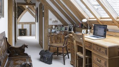 Oak-beamed Home Office with Traditional Furniture