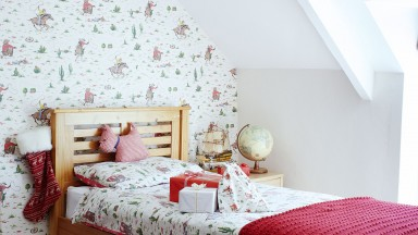 Retro-style Children's Country Bedroom with Red Accents