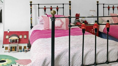 Country Twin Girl's Room with Colourful Accessories and Bunting
